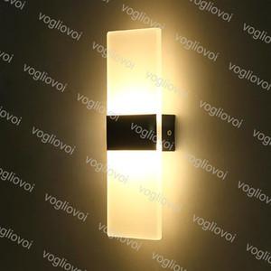 Duvar Lambaları 6W 12W Led Akrilik Duvar Işık Kapalı Aydınlatma Aplik Salon Yatak odası Arkaplan Koridor Avlu Lambası DHL