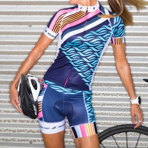 Cycling Suit Uniforme Summer Women Blue short sleeve Bicycle Shirts Bike Jersey Set Air Clothing Kit Bib Shorts Mujer Ciclismo T200701