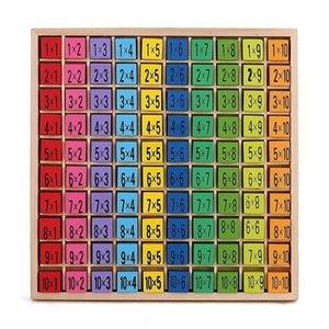 El más nuevo juguete matemático Bebé Juguetes de madera 99 Tabla de multiplicación Juguete matemático 10 * 10 bloques Bebé Aprendizaje temprano Montessori educativo Juguete