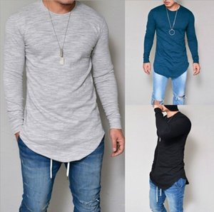 2019 sólido que basa la camisa de color tiempo la sección de los nuevos hombres de primavera y verano delgado cuello redondo modelos de explosión camiseta de manga larga de los hombres