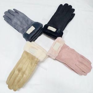 Новый бренд дизайн искусственного меха стиль стиль для женщин зима открытый теплый пять пальцев искусственные кожаные перчатки оптом