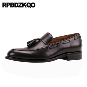 Italy tassel plus size genuine leather dress italian loafers boat shoes men 11  wedding prom european black cow skin real