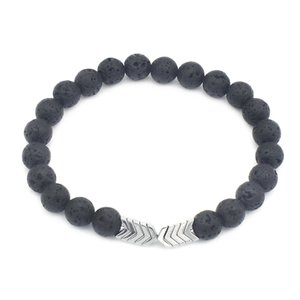 8mm Lava Stone Bracelet Rock Bracelet Adjustable Arrow Diffuser Stone Bracelet for Women Men