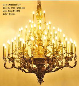 Villa Otel Projesi Mum Sarkıt Aygıtlar Aydınlatma Lambası Asma Lüks Geleneksel Bakır Avize Işık Armatür Vintage Lustres