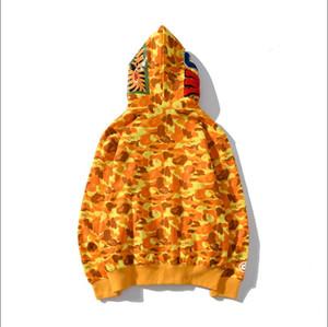 2020 hombres de moda sudaderas tiburónYF boca Impreso costura Sudaderas, manga larga chaquetaEscudo de Bape hombres suéter