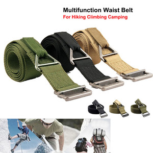 High Density Nylon Multi-function Waist Belt Emergency Bundling Strap With Full Metal Buckle For Camping Climbing Hiking Rescue.