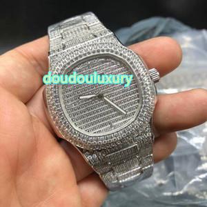 실버 다이아몬드 핫 남성 시계 부티크 패션 인기 상위 시계 힙합 랩 스타일 자동 다이아몬드 시계