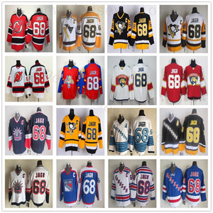 CCM Vintage 68 Jaromir Jagr Maillots Pittsburgh Penguins Hockey sur glace Jaromir Jagr Jersey Blanc Rouge Noir Rétro Cousu Bleu Jaune