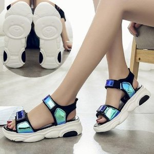 35-43 large size sandals female summer students laser bright sponge cake thick bottom beach shoes colorful Roman sandals