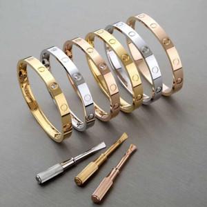 Liebe Schraube Luxuxentwerfer Armband Armbänder 316L Titan Stahl CZ Diamant-Stein-18K Schraubendreher Armbänder für Frauen Männer mit ursprünglichem Kasten