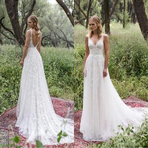 Romântico Limor Rosen 2020 Garden Beach A Line Wedding Dresses V profundo Neck Lace vintage Bohemian vestidos de noiva