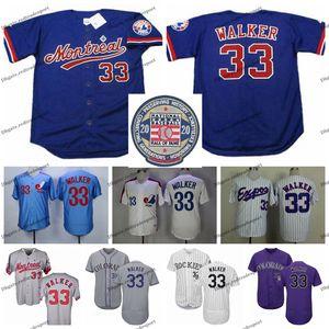 Vintage 2020 Hall Of Fame des Expos de Montréal Larry Walker Baseball Jerseys pas cher blanc bleu # 33 Larry Walker Hommes Chemises Stitched