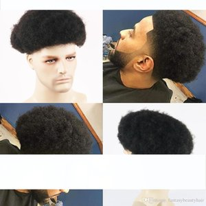 Afro Curl Mens Toupee Natural Black 1B # African American 6MM завиток волос Repalcement система фронт шнурок Тонкое Hairpieces кожи