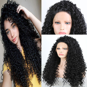 Long Curly Heavy Density Synthetic Hand Tied Lace Front Wig Glueless Heat Resistant Fiber Hair Natural Hairline Women Wigs with Baby Hair