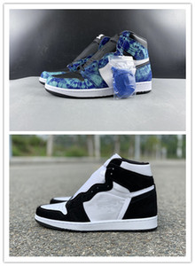 Con il contenitore di nuove bianche scarpe da donna di pallacanestro 1 tie-dye WMNS Panda ALTA neri mi Sport Sneakers formatori dimensione all'ingrosso 9-12