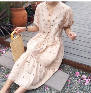 Heavy industry embroidery puff sleeve dress loose French retro temperament high waist A-line dress