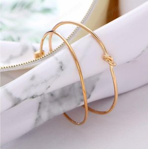 2PCS SET Women Brief Gold Color Open Arrow Knotted Charms Bracelet Vintage Cuff Bracelet Bangles for Jewelry valentines Gift
