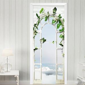 Home Decor Door Sticker European Style 3D Stereo Palace Arch Garden Wallpaper Living Room Wedding House Wall Stickers DIY Murals
