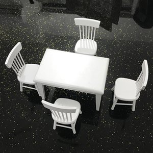 5 PCS Wooden Table Chair Set Mini Doll Furniture Model for 1 12 Dollhouse Play House Toys FJ88