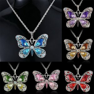 Butterfly Sweater Chain Necklace Crystal Rhinestone Necklace for Girls Fashion Women Necklaces Jewelry Animal Pendant Charm Necklace 6Colors