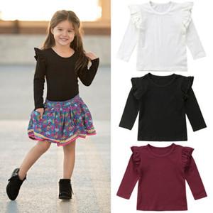 Sevimli Kız Bebek Renk Uzun Kollu Tişört Tee Giyim Tops Katı fırfır Kid Tee Kıyafet Pamuk Elbise