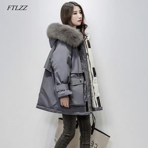 FTLZZ 2019 mujeres del invierno real natural de piel de zorro con capucha de Down Parka suelta Escudo Mujer caliente grueso de pato blanca SH190925 chaqueta de gran tamaño