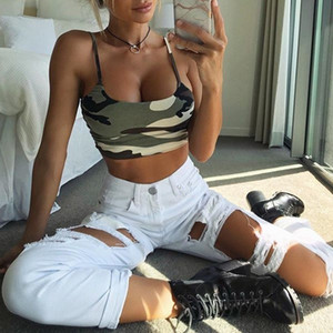 QNPQYX Women Summer Sexy Tank Vest Crop Top Sleeveless Camouflage Print Cotton Clubwear Vest Off Shoulder Camisole New Arrival tank tops