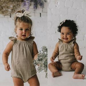 Nourrisson bébé Romper été vol manches solides O-Neck Romper bébé fille Vêtements bébé Loisirs filles Vêtements 24M-3T 5 Couleur Coton