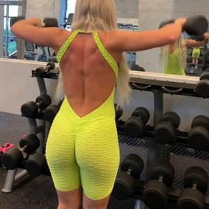 Sexy Playsuit Backless Rompers Womens Jumpsuit Shorts Gym Training Tights Fitness Short Legging Anti cellulite Push Up Summer