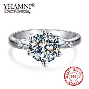 YHAMNI Sólido 925 Sterling Silver Ring Limpar Seis Garra Cubic Zirconia Moda Jóias De Noivado Do Casamento Para As Mulheres XJZ363