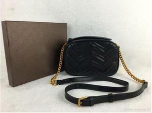 2020 Женщины Marmont Сумка с длинной цепью Кожа PU Конструкторы плеча сумки Древнее золото Цепные талии сумки Totes Hobos