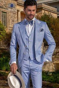 Tuxedos Blue Groom Notch Revel Groomsman Tuxedos de mariage Mode Hommes formels Business Dîner de bal des finissants Costume 3 Pièce (Veste + Pantalon + Cravate + Gilet) 28