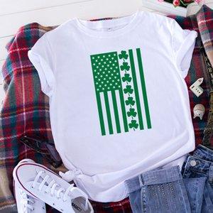 Wish Cross-Border Womens Foreign Trade европейская и американская мода повседневная с короткими рукавами четырехлистный клевер шаблон печатной футболки лето
