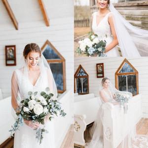 Abiti da sposa Vestidos de Novia A Line Sexy Deep-V Back Back Brank Pizzo Tulle a Backless Ribbon Bridal Gowns CPS304