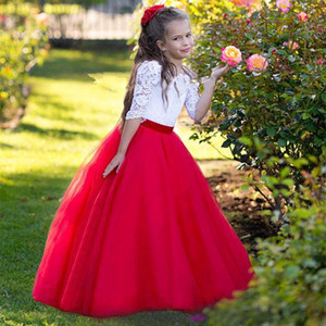 4-14 Years Ruby White Princess Flower Girls Dresses Bateau Neck Half Sleeves Lace Tulle Floor Length Children Wedding Holiday Party Dresses