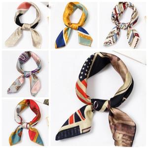 Квадратный шарф женщины элегантные маленькие головы шеи худые артефикационные шелковые атласные шарвы галстуки волос 39 дизайнов оптом xh3025