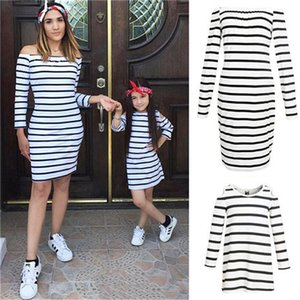 Mother And Daughter Stripe Dress Matching Women Kid Girl Casual Family Clothes Skirt Mother Daughter Dresses Long Sleeve