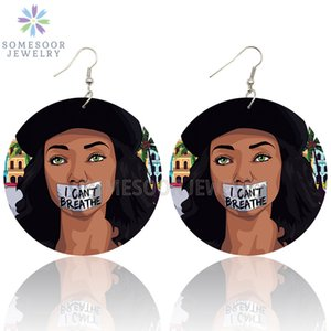 SOMESOOR I Can't Breathe Black Woman Portrayal Wooden Drop Earrings Melanin Lives Matters Arts Printed Ear Loops Jewelry Gifts