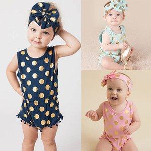 New Infant Baby Girl Polka Dot Tassel Romper Jumpsuit Outfits Set 0-24M