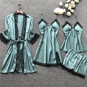 Plus Size 2XL femmes pyjamas Ensembles satin de nuit en soie 4 pièces Notte pyjama Spaghetti Strap dentelle sommeil Lounge Pijama