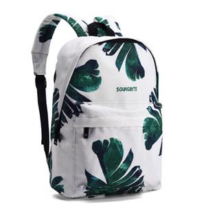 Designer-casuali della tela di canapa donne zaino verde foglia di alta qualità di stampa del modello femminile giornaliera Laptop Bagpack Collegio per ragazze Mochila