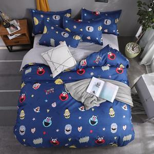4 Pcs impressos cama Sólidos Sets Criança capa de edredão dos desenhos animados Quilt Folha de cama Fronhas Cover Set Consolador Individual Douleb Bed