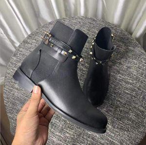 Hot Sale-hiver bottes de piste noire cheville véritable stretch en cuir plates courtes bottes de choix celeb vogue de la mode design de luxe