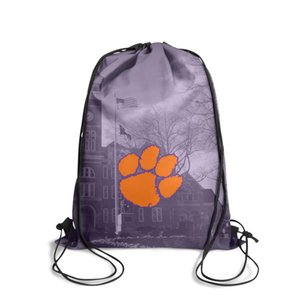 Clemson Tigers football logo black and white Photo Fashion Sports Belt Backpack,Design Cool Suitable For School Orange purple Core Smoke