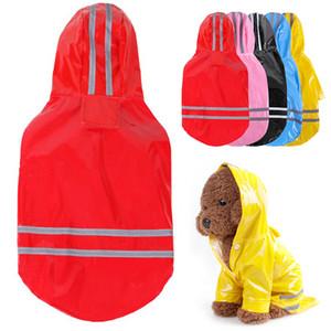 Pet Waterproof Jacket Puppy Dog Brasão Outdoor Moda Vestuário Dog Dog Umbrella Pet Chuva sólido com capuz Raincoat