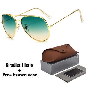 Alta qualidade Piloto Óculos De Sol Das Mulheres Dos Homens Designer de Marca óculos de Condução UV400 Goggle Armação De Metal gradiente Lente com caixa marrom livre e caixa
