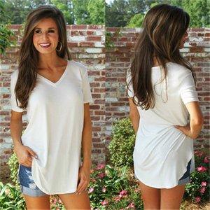 Женская Проектировщик Solid Color Tshirts моды с коротким рукавом Свободные женщин V шеи Top Summer Ladies Casual Tee