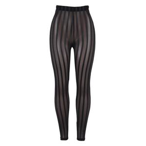 Donne Sexy Slim Leggings a strisce verticali Leggings Prospettiva Pantaloni da garza Ladies Skinny Comodo Pantaloni intimo