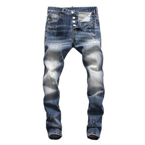 New High quality Mens jeans Distressed Motorcycle biker jeans Rock Skinny Slim Ripped letter printing Brand Denim Hip Hop skinny jeans