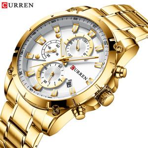 Gold Uhren Herren Luxus Top-Marke CURREN Quarz-Armbanduhr Art und Weise Sport und Causal Business Watch Male Uhr Reloj Hombres